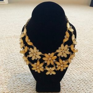 Yellow flower statement necklace